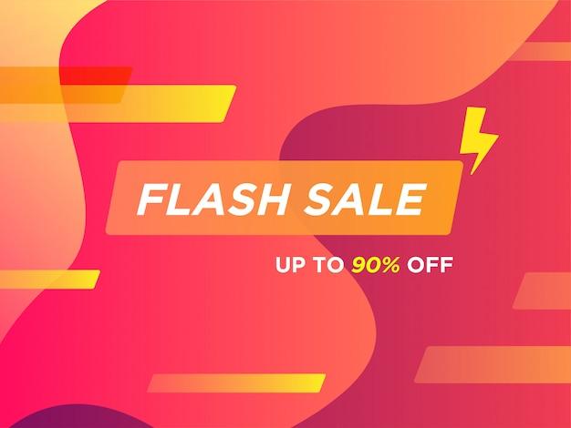 Banner promocional de venda flash amarelo super vermelho