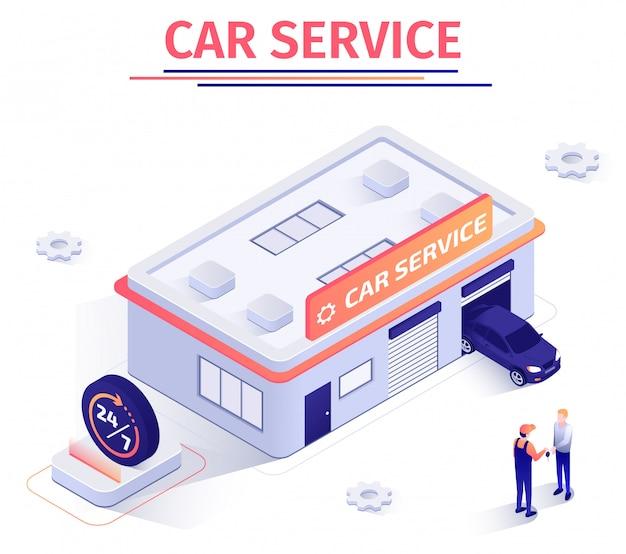 Banner promocional oferece serviço de reparo automobilístico em volta do relógio