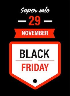 Banner promocional para o feriado de outono em 29 de novembro. super venda black friday e descontos durante a temporada de outono. anúncio de preços baixos e redução de custo. vetor de emblema ou etiqueta em estilo simples