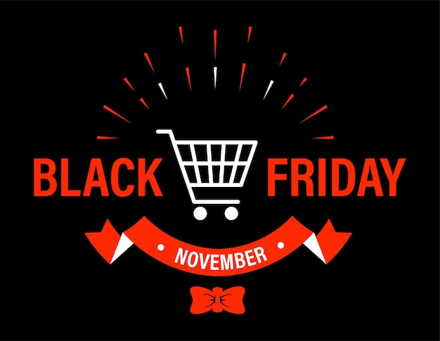 Banner promocional para sexta-feira negra, arco de fita decorativa e texto. crachá com carrinho de carrinho de compras. emblema para lojas e lojas para anunciar e anunciar venda e descontos. vetor em estilo simples