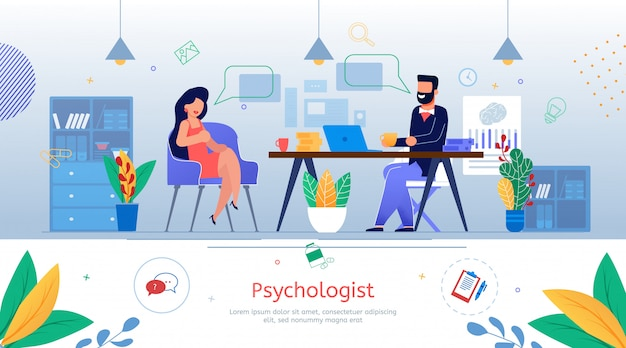 Banner promocional plana de aconselhamento psicológico
