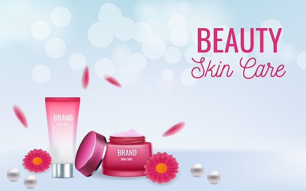 Banner publicitário de produtos cosméticos para cuidados com a pele