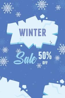 Banner publicitário de venda de inverno com pedaços de gelo de explosão