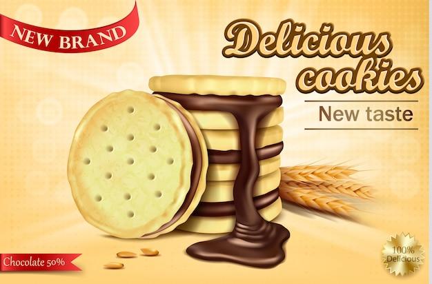 Banner publicitário para biscoitos de sanduíche de chocolate