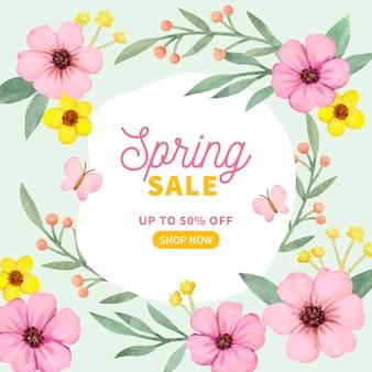 Banner quadrado aquarela com venda de primavera