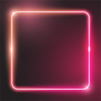 Banner quadrado arredondado de néon