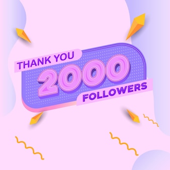 Banner quadrado com aparência moderna de 2.000 seguidores