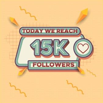 Banner quadrado com aparência retrô de 2.000 seguidores