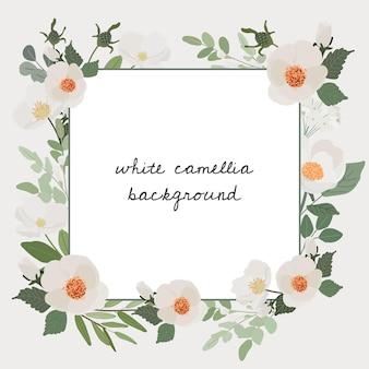 Banner quadrado com moldura branca de camélia flor buquê e grinalda