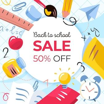 Banner quadrado com volta às vendas da escola