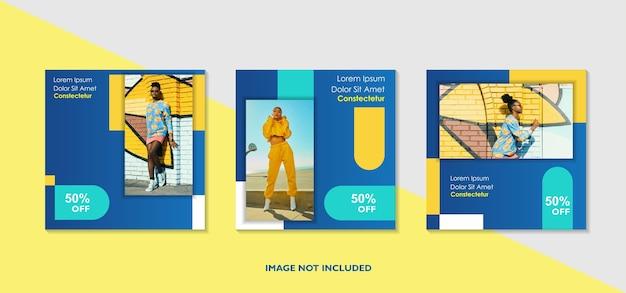 Banner quadrado da web de promoção moderna para aplicativos móveis de mídia social