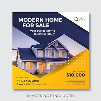 Banner quadrado de imóveis residenciais para mídia social