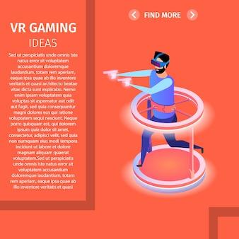 Banner quadrado de jogos de realidade virtual. homem, videogame jogo