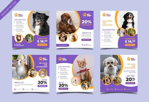 Banner quadrado de loja de animais para post de mídia social
