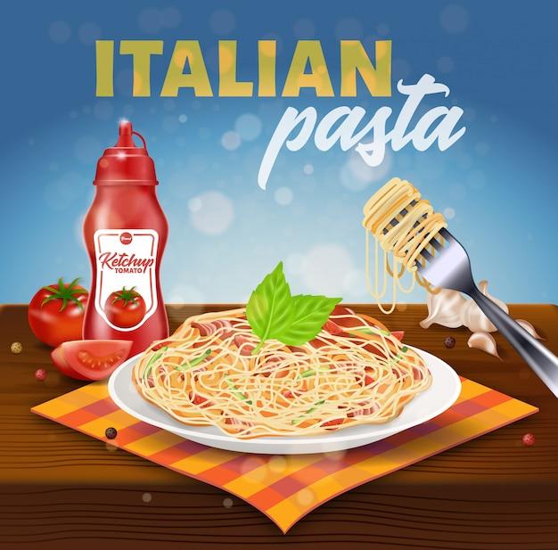 Banner quadrado de massas italianas. prato com espaguete
