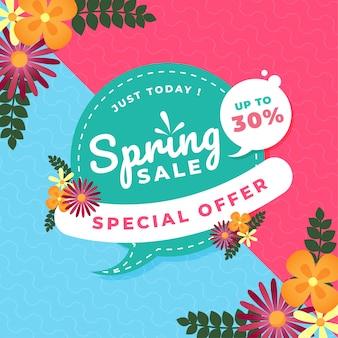 Banner quadrado de promoção de venda de primavera