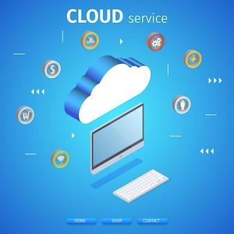 Banner quadrado de serviço em nuvem. tecnologia de computação.
