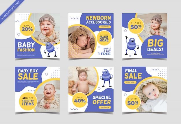 Banner quadrado de venda de moda bebê para modelo de postagem de mídia social