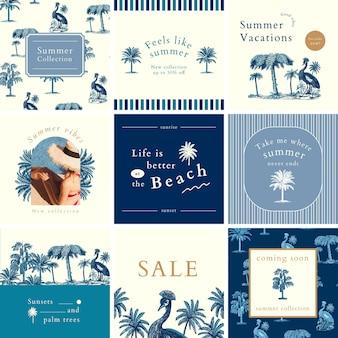 Banner quadrado de venda de verão, modelo de postagem em mídia social