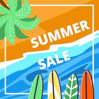 Banner quadrado de venda de verão, vista superior praia do mar