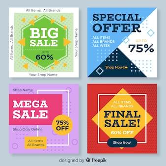 Banner quadrado de venda geométrica para mídias sociais