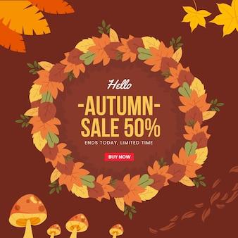 Banner quadrado de venda outono