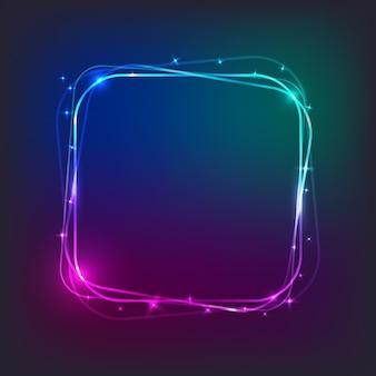 Banner quadrado luz neon com espaço livre para texto
