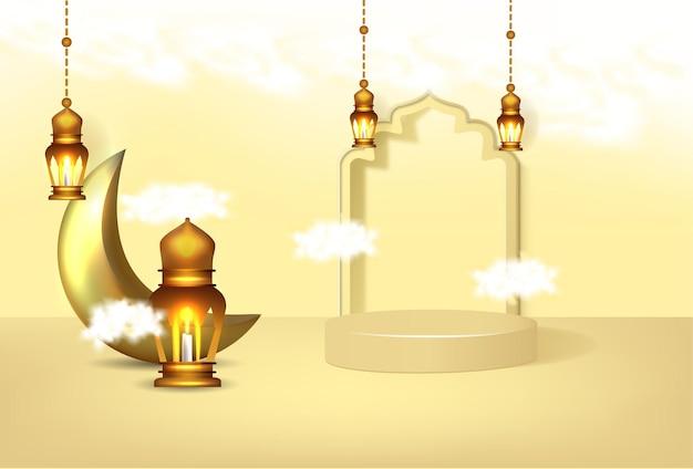 Banner ramadan kareem com pódio de luxo 3d e lanters