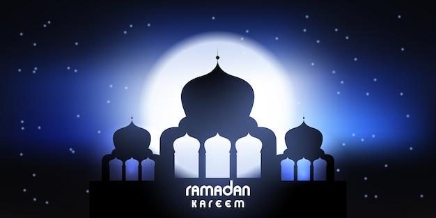 Banner ramadan kareem com silhueta de mesquita