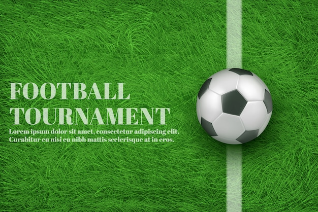 Banner realista 3d de torneio de futebol