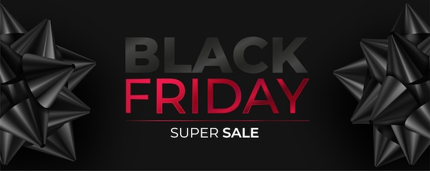 Banner realista da black friday com laços pretos