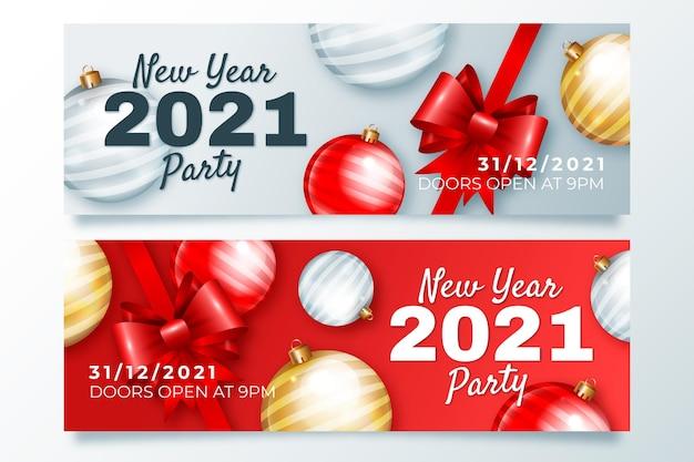 Banner realista de ano novo 2021