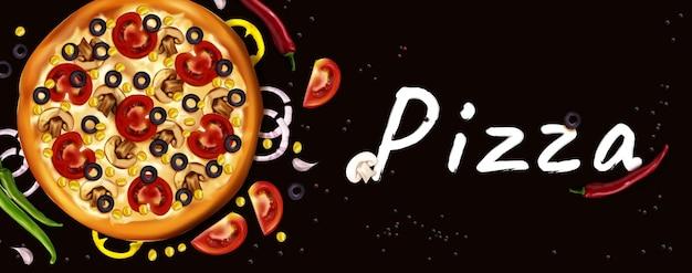 Banner realista de anúncios de pizza