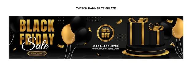 Banner realista de black friday twitch