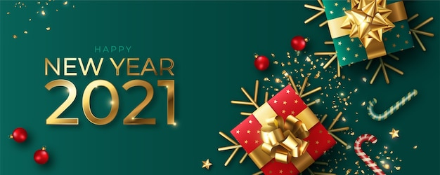 Banner realista de feliz ano novo com decoração vermelha e verde
