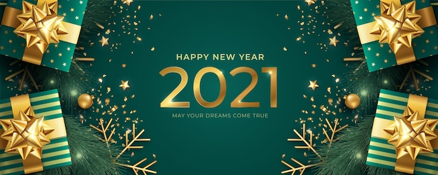 Banner realista de feliz ano novo com presentes verdes e dourados