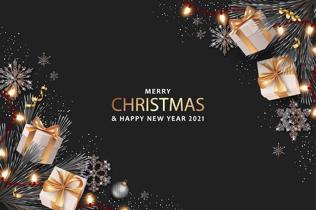 Banner realista de feliz natal e feliz ano novo com caixas de presente