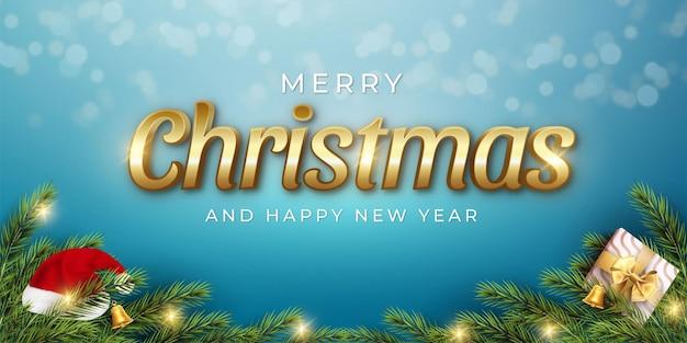 Banner realista de feliz natal e feliz ano novo com elementos de decoração de natal