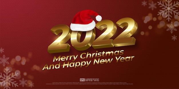 Banner realista de natal e ano novo com letras douradas sobre fundo vermelho