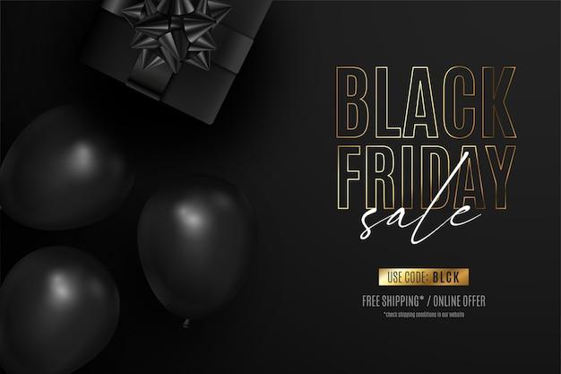 Banner realista de sexta-feira preta com presentes e balões