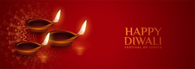 Banner realista diya lâmpada diwali vermelho