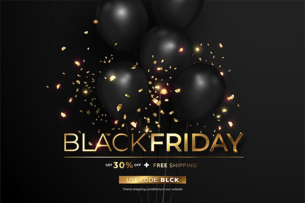 Banner realista preto e dourado preto sexta-feira venda