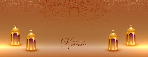 Banner realista ramadan kareem dourado com lanternas islâmicas