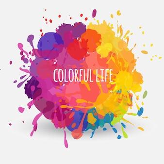 Banner redondo abstrato de vetor com manchas de tinta coloridas