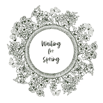 Banner redondo com moldura de corda e minúscula primavera e borboletas, lírios do vale. ilustração de mão desenhada.