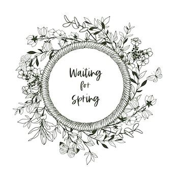 Banner redondo com moldura de corda e pequenas hortaliças e borboletas. ilustração de mão desenhada.