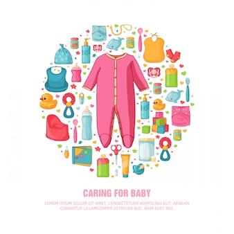 Banner redondo com padrão de infância. pessoal recém-nascido para decoração. modelos de design de círculo para cartão, convite com roupas, brinquedos, acessórios para chá de bebês menina. .