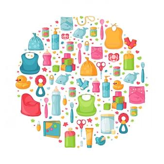 Banner redondo com padrão de infância. pessoal recém-nascido para decoração. modelos de design de círculo para cartão, convite com roupas, brinquedos, acessórios para chá de bebês. .