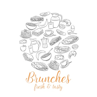 Banner redondo de café da manhã. jarro de leite, cafeteira, xícara, suco, sanduíche e ovos fritos.