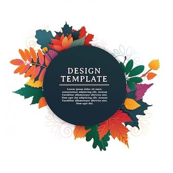 Banner redondo de design de modelo para o outono com moldura branca e ervas